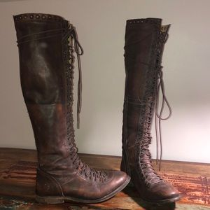 Free People leather lace up OTK boots